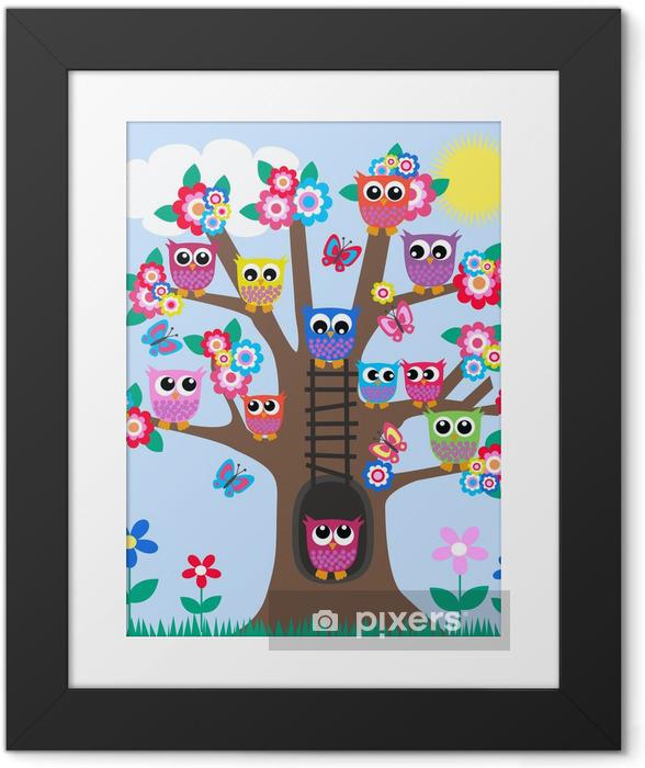 Ingelijste Afbeelding Veel uilen in een boom - Kleuter