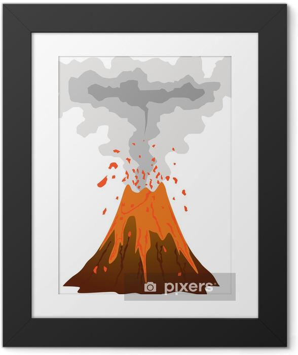 Plakat w ramie Palenia, wybuchający wulkan ikon na białym - Klęski żywiołowe