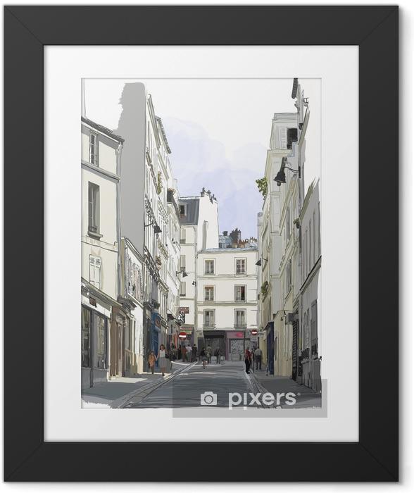 Ingelijste Poster Straat in de buurt van Montmartre in Parijs - Gebouwen en Architectuur