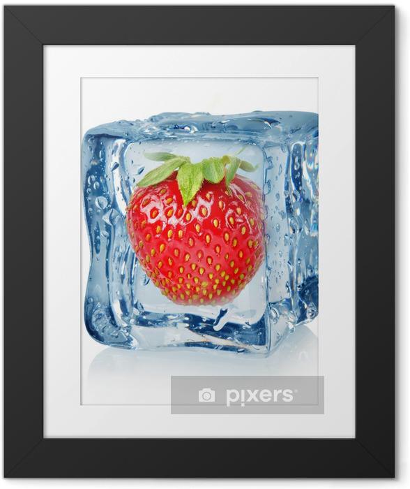 Póster Enmarcado Cubo de hielo y fresa - Vinilo para pared