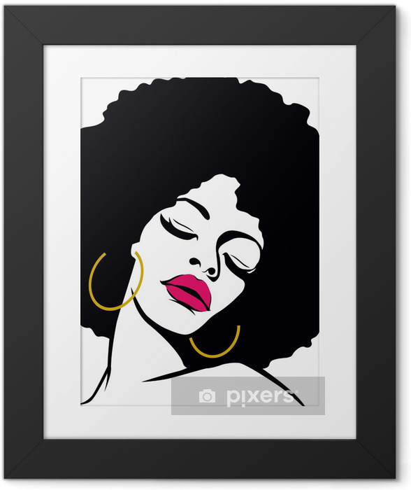 Poster in Cornice Afro hair hippie donna pop art - Temi