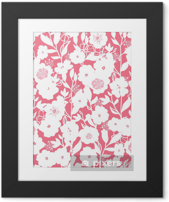 Poster en cadre Blanc Vector et fleurs roses seamless de fond - Fleurs