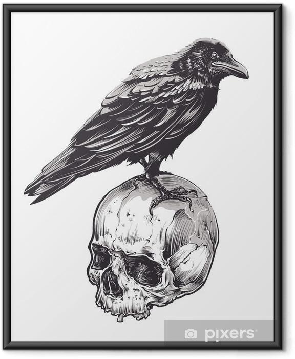 Ingelijste Poster Kraai op Skull - Dieren