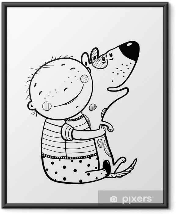 Poster en cadre Little Boy étreintes Dog Meilleur Happy Friends Outline - Animaux