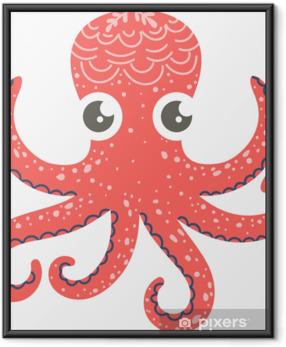 Çerçeveli Poster Kreş dekor, baskılar ve posterler, doodle tarzı illüstrasyon için ahtapot sevimli illüstrasyon. vektör - Hayvanlar