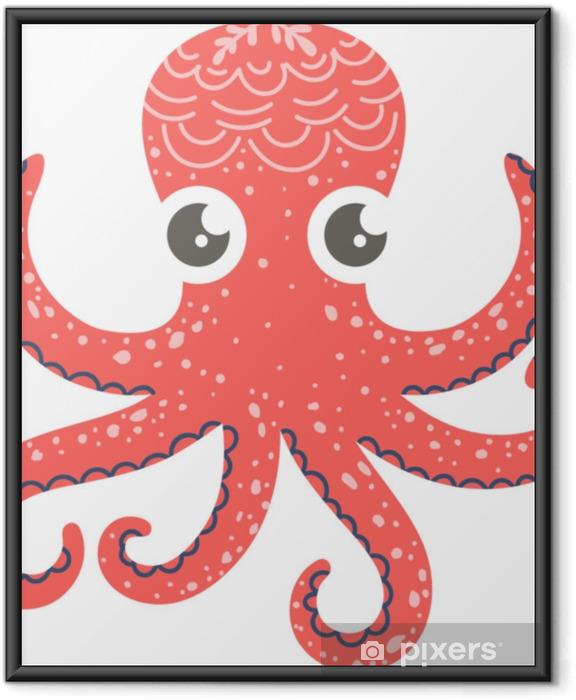 Plakat w ramie Ładny ilustracja ośmiornicy na wystrój przedszkola, wydruki i plakaty, doodle styl ilustracji. wektor - Zwierzęta