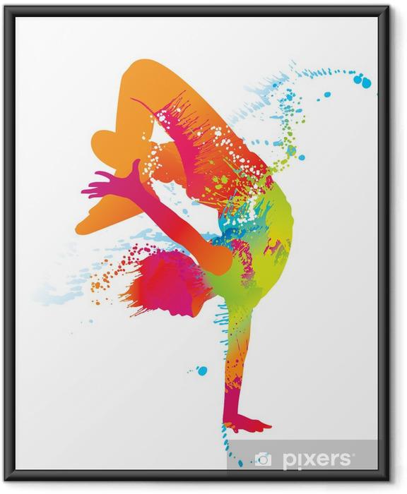 Ingelijste Poster De dansende jongen met kleurrijke vlekken en spatten. Vector - Thema's