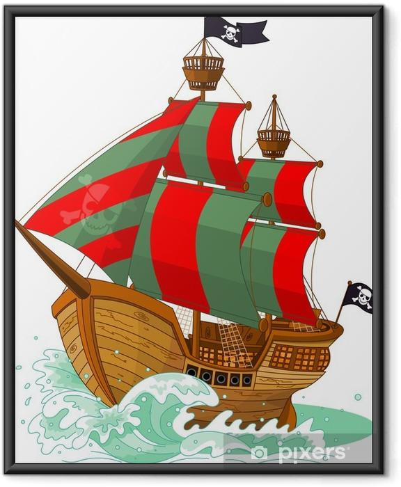 Ingelijste Poster Piratenschip - Muursticker