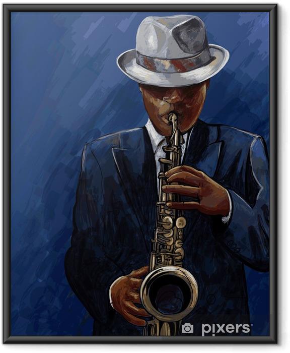 Póster Enmarcado Saxofonista tocando el saxofón en un fondo azul - Jazz
