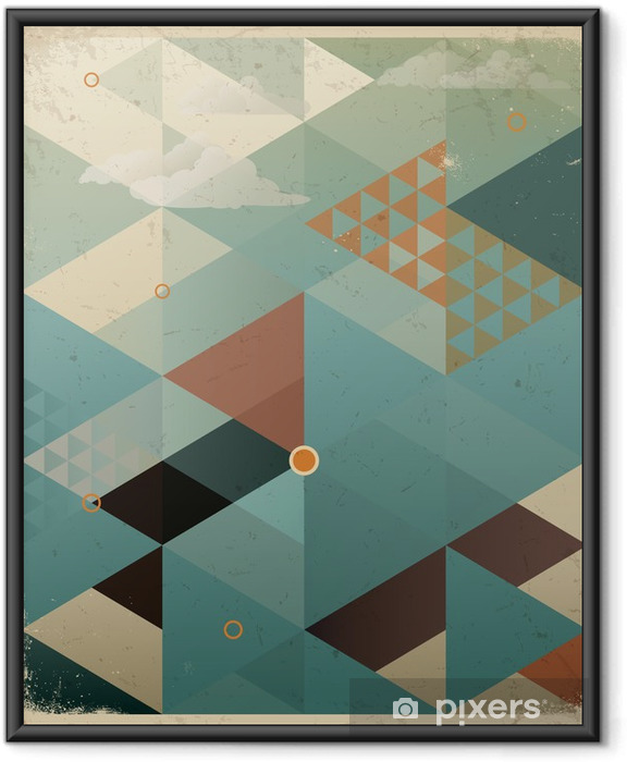 Póster Enmarcado Abstract Background Retro Geometric con nubes -