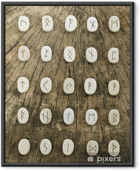 Ingelijste Poster Keltische runen - Tekens en Symbolen