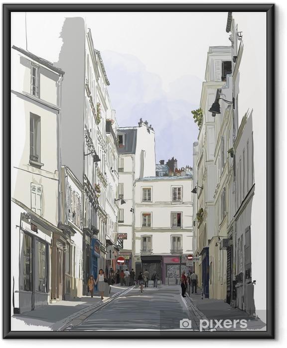 Plakat w ramie Ulicy w pobliżu Montmartre w Paryżu - Budynki i architektura