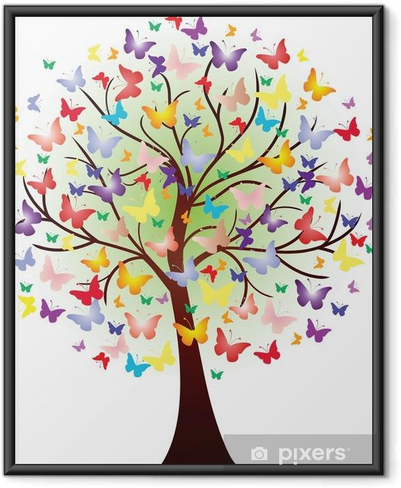 Plakat w ramie Grafika piękna wiosna, składający się z motylami - Naklejki na ścianę