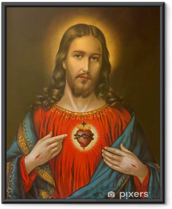 Poster en cadre Image typique catholique de coeur de Jésus-Christ - Thèmes
