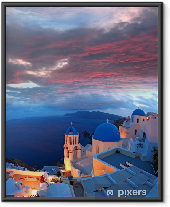 Plakat w ramie Santorini z kościołami i widokiem na morze w Grecji - Tematy