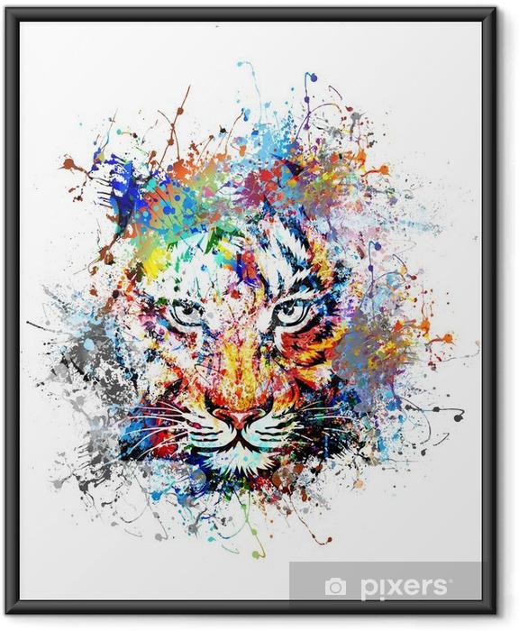 Ingelijste Poster Heldere achtergrond met tijger - Wetenschap en natuur