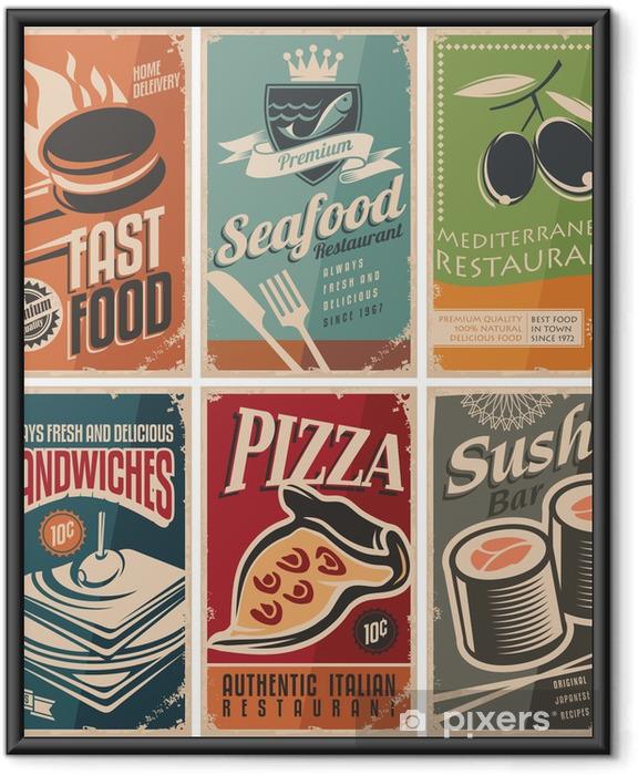 Poster i Ram Vintage samling av livsmedel och restauranger affischer - Försäljning