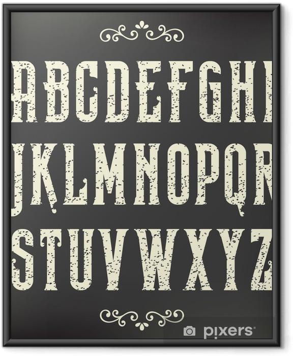 Plakat w ramie Grunge vintage, czcionki - Tematy