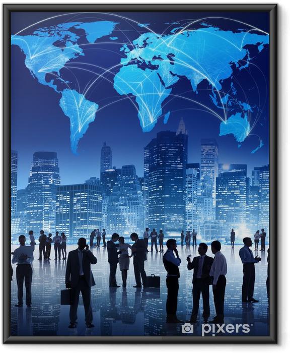 Ingelijste Poster Silhouet van mensen in Global Business Meeting - Groepen en Menigte