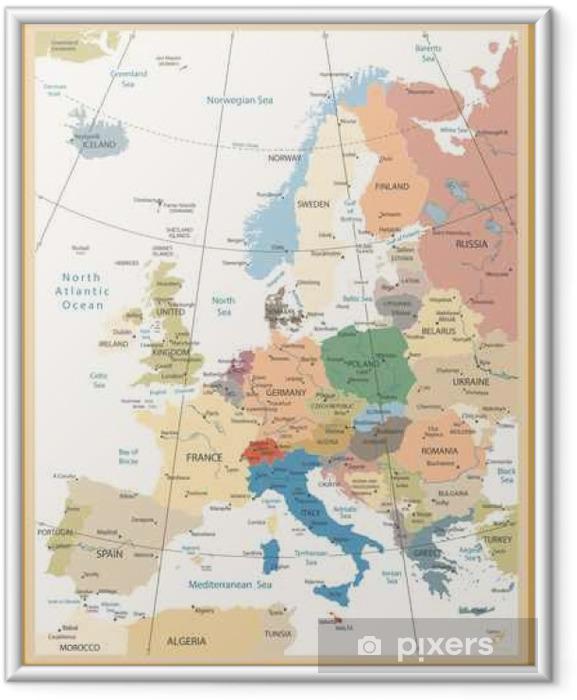 Poster i Ram Political Map of Europe retro färger - Resor