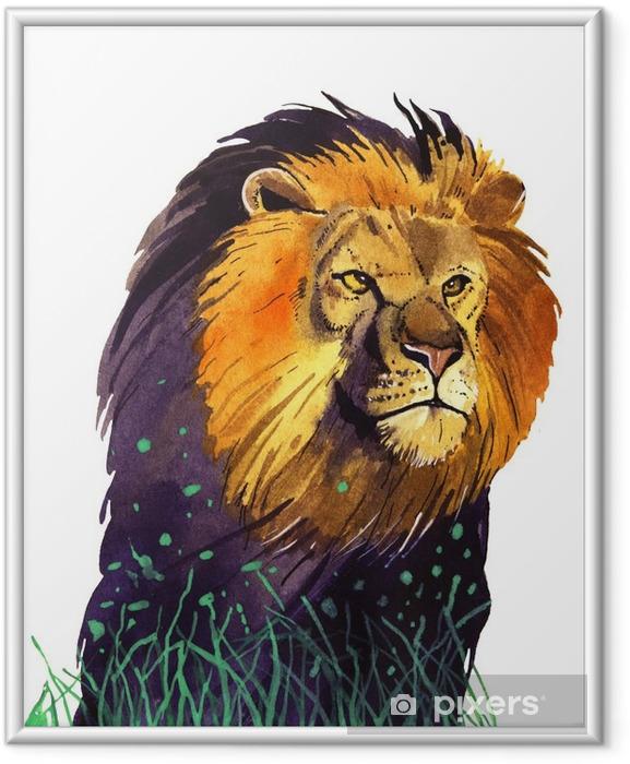 Plakat w ramie Akwarela lew - Zwierzęta