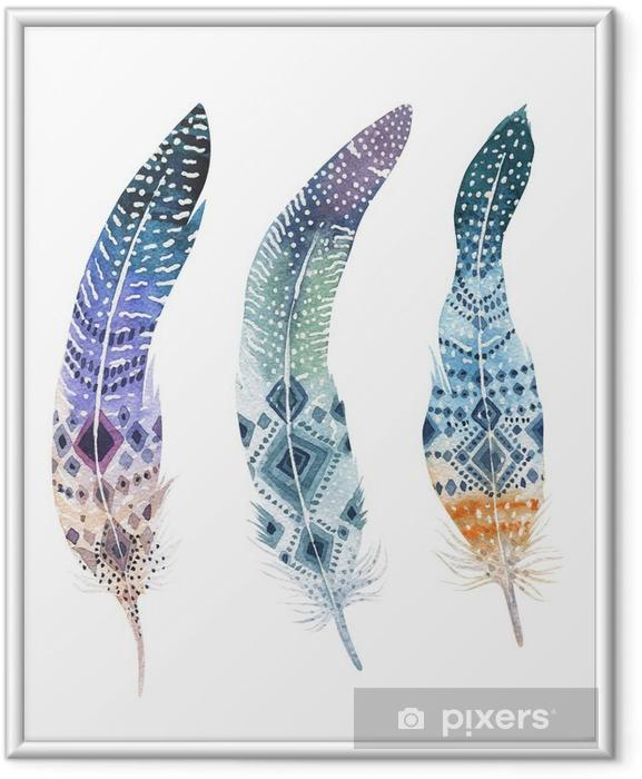 Çerçeveli Poster Elle çizilmiş suluboya canlı tüy seti. Boho tarzı - Hayvanlar