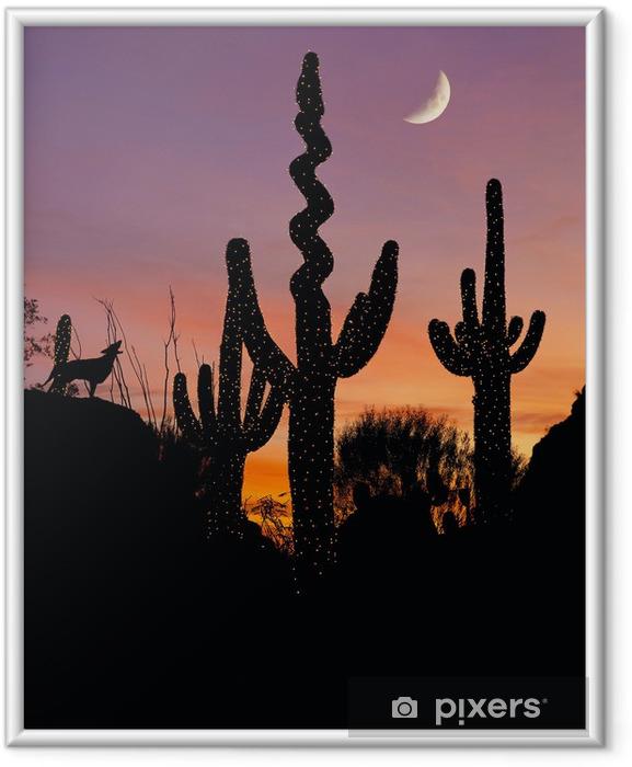 Poster i Ram Silhuetten av en prärievarg tjuter på en dekorerad saguarokaktus - Öknar
