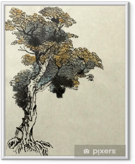 Póster com Moldura Exemplo Desenho da árvore - Plantas e Flores
