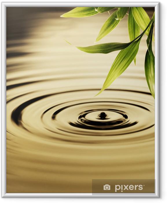 Plakat w ramie Świeżych liści bambusa nad wodą - Style