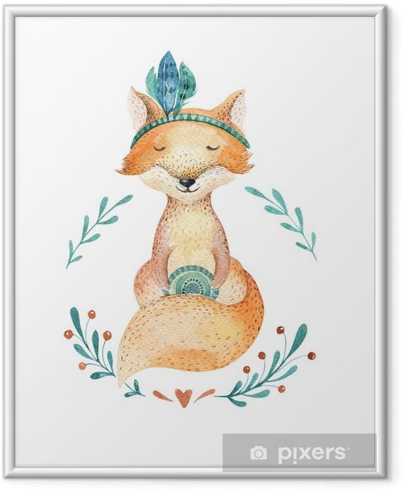 Póster com Moldura Animal bonito da raposa do bebê para o jardim de infância, ilustração isolada berçário para a roupa das crianças, teste padrão. imagem tirada watercolorhand do boho perfeita para o design das capas de telefone, posters do berçário, cartão. - Animais