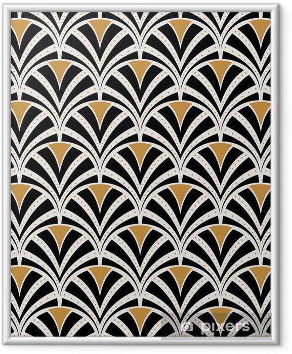 Plakat w ramie Wektor kwiatowy secesja szwu. geometryczne dekoracyjne liście tekstur. retro stylowy tło. - Zasoby graficzne