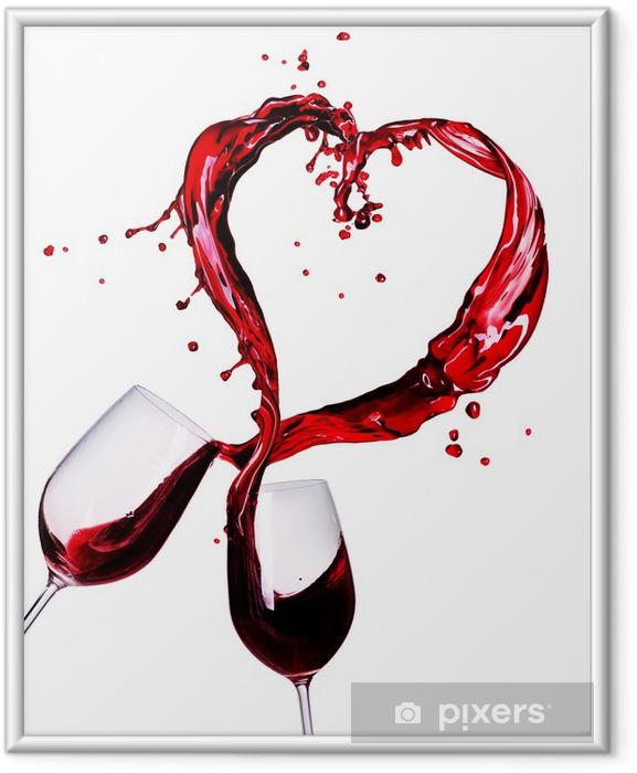 Poster en cadre Deux verres de vin rouge de coeur Splash Résumé - Sticker mural