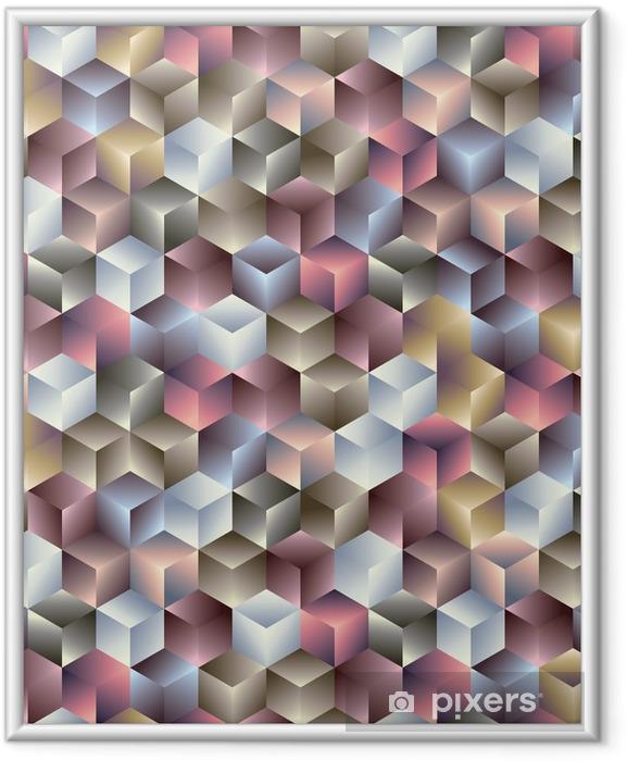 Çerçeveli Poster 3d geometrik sorunsuz desen küpler. -