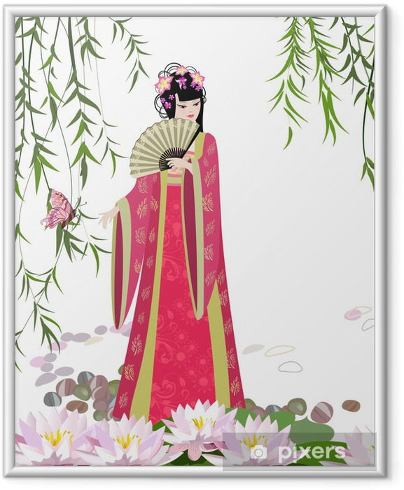 Póster Enmarcado Paisaje chino con chica - Mujeres
