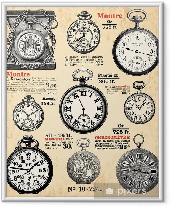 Plakat w ramie Zegarki kieszonkowe - Zegary