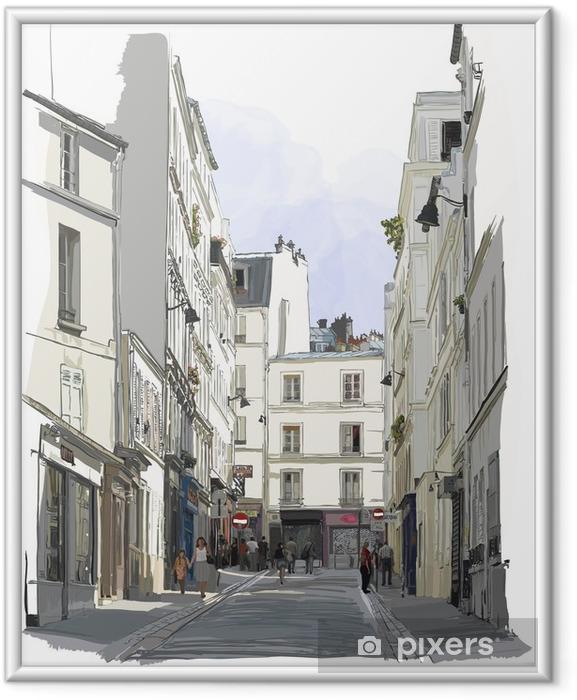 Póster Enmarcado Calle cerca de Montmartre en París - Construcciones y arquitectura