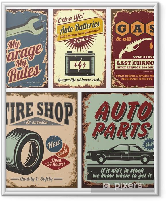 Poster i Ram Vintage bil metallskyltar och affischer -