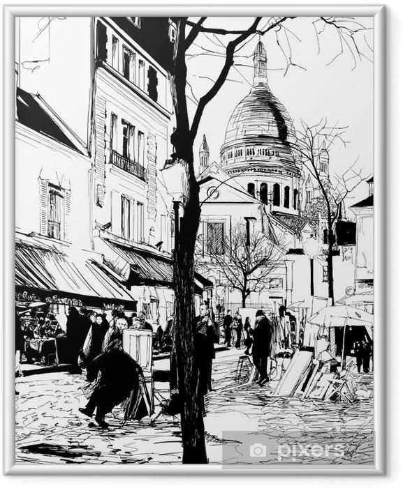 Plakat w ramie Montmartre w zimie - Tematy