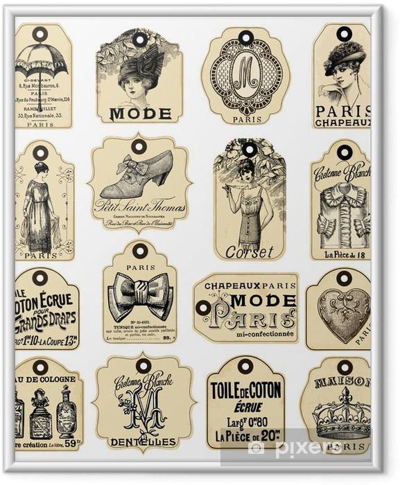Poster en cadre 16 Français étiquettes rétro - Beauté