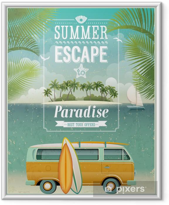 Plakat w ramie Vintage plakat widok nadmorski z surfowania van. Wektor tła. - Style