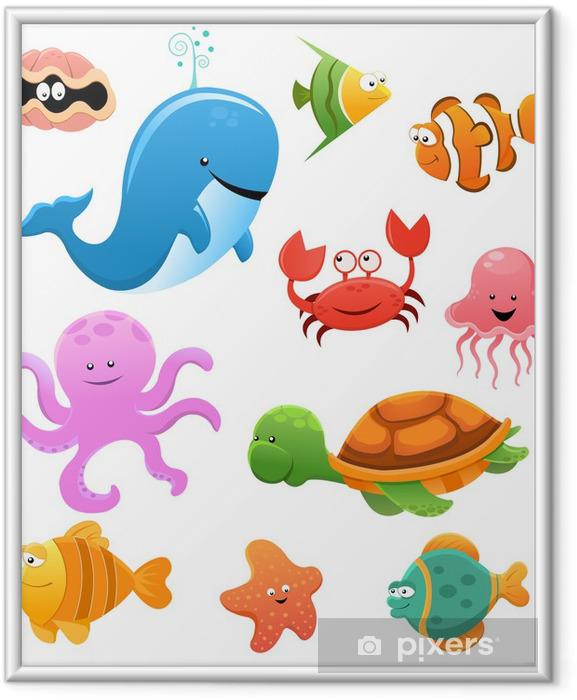 Merieläinten asetelma Kehystetty juliste - Seinätarra