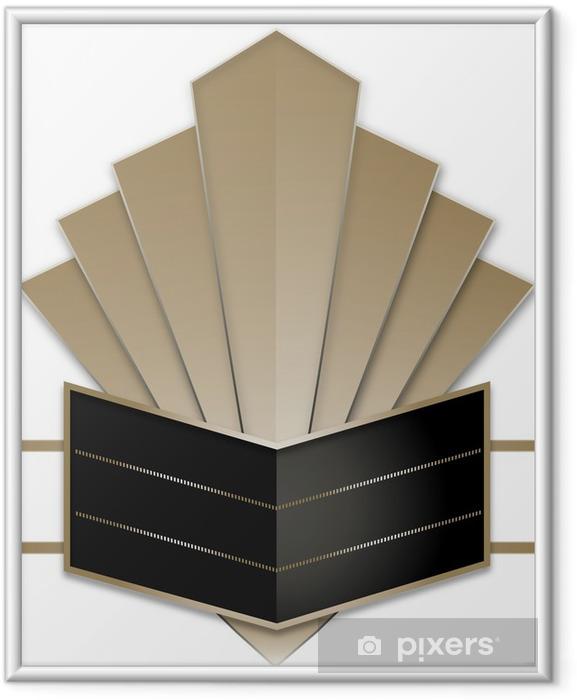 Ingelijste Poster Art Deco Stye Badge - Achtergrond