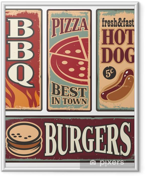 Poster en cadre Vintage rapides signes d'étain des aliments -