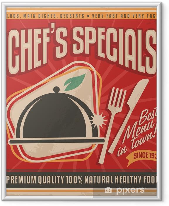 Poster i Ram Retro affisch mall för bästa restaurangen i stan - Till köket