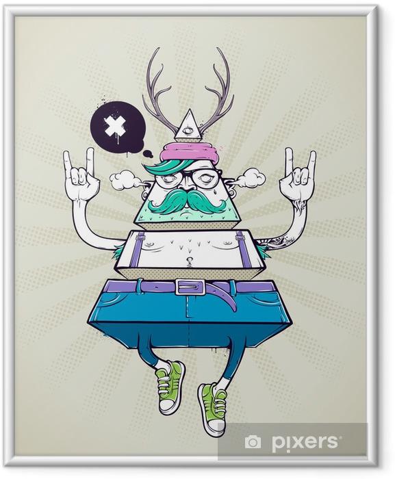 Plakat w ramie Triangle hipster dziwaczne postaci - Wąsy