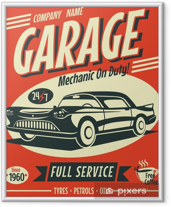 Ingelijste Poster Retro auto service teken. Vector illustratie. - Stijlen