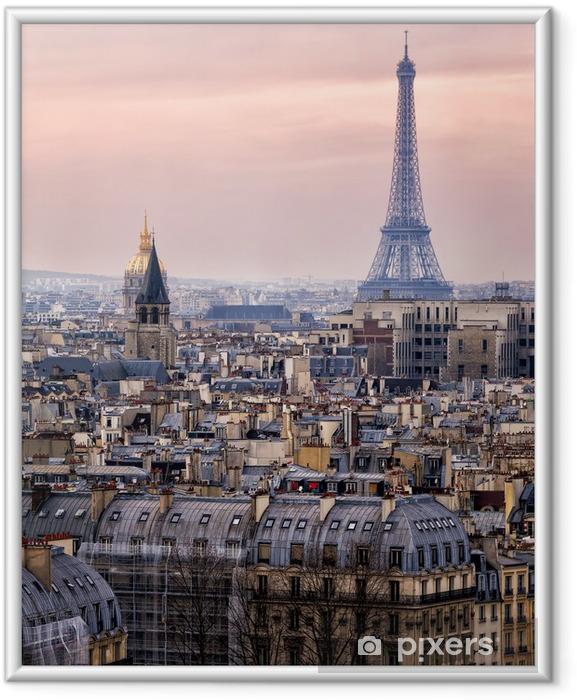 Póster Enmarcado Vista de París y de la Torre Eiffel vista desde el cielo - Temas