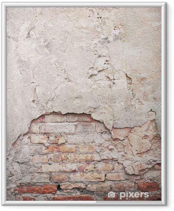 Poster en cadre Brique, béton patiné mur de fond grunge - Thèmes