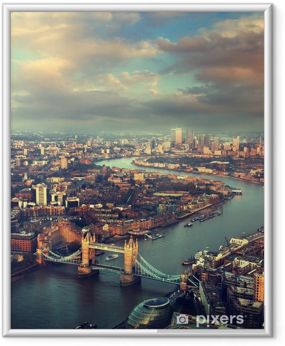 Ingelijste Poster Londen luchtfoto met Tower Bridge in zonsondergang tijd - Thema's