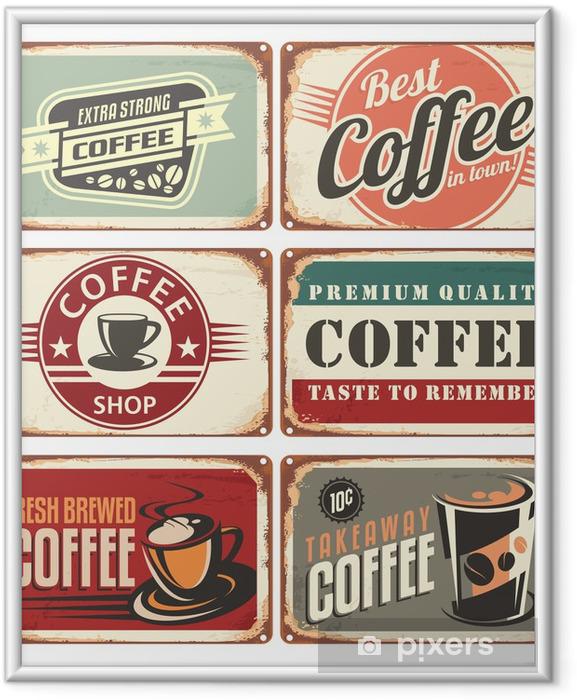 Poster i Ram Uppsättning av vintage kaffe plåtskyltar - Stilar